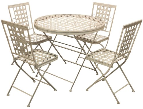 Maribelle Folding Metal Outdoor Garden Patio Dining Table And 4 Chairs Set