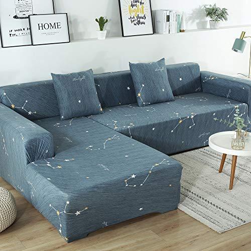 YLXD Funda de sofá con Chaise Longue elástica en Forma de L - Funda de sofá esquinera modulable de poliéster Sofa Funda Imprimiendo Elegante