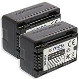 2 Baterías VW-VBT190 para Panasonic HC-V130, V160, 270, 380, V727. v. Lista! [3.6V - 1780mAh - Li-Ion - Infochip (con indicación del Tiempo restante de Toma!)