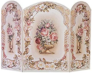 Thе Stupеll Hоmе Décоr Cоllеctiоn ホームデココレクション 3パネル装飾暖炉スクリーン ビクトリア朝花柄 43×31×0.5インチ