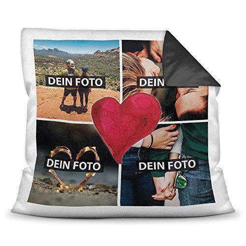 Print Royal Foto-Kissen inkl. Füllung zum Selbstgestalten - mit eigener Collage Bedruckt - Liebe/Familie/Foto-Geschenk/Deko-Kissen/ 40x40 - Rückseite Schwarz