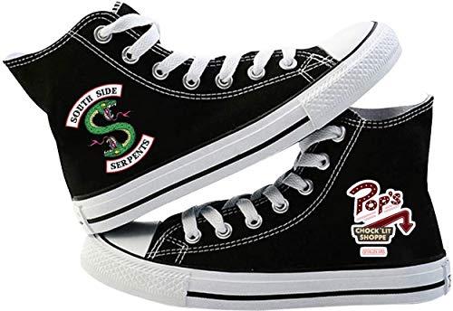 Yesgirl Chaussures en tissu Alte Southside Serpents Riverdale Unisexe Imprimé Stringate Chaussures Sportives Paire de chaussures en toile Deck Shoes Respirantes Casual - - A Noir A., 38 EU