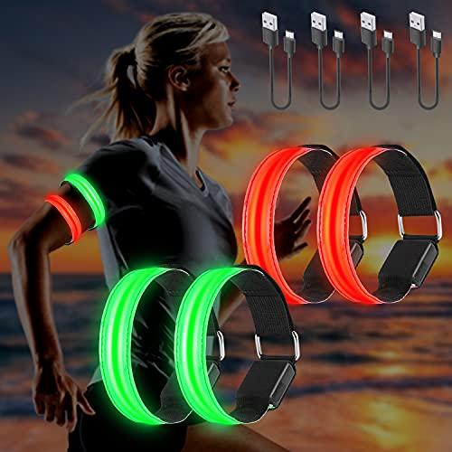 Molbory LED Armband USB, 4 Stück LED Reflective Band leuchtarmband laufarmband Lichtband Kinder leuchtbänder Reflektorband Licht für Joggen Laufen Running Sports