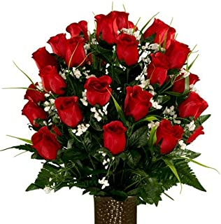 Sympathy Silks Artificial Cemetery Flowers - Realistic - Outdoor Grave Decorations - Non-Bleed Colors, and Easy Fit - Red Rose with Lily Grass - with Flower Holder
