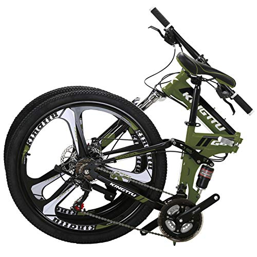 Kingttu EURG6 Mountain Bike 26 Inches 3 Spoke Wheels Dual Suspension Folding Bike 21 Speed MTB...
