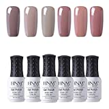 HNM Vernis Semi permanent Nude Lot de Vernis à Ongles 6pcs Nail Gel UV LED Soakoff Kit Manucure Pour Ongle, 8ml-Z002