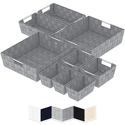 NEATERIZE 9 Assorted Storage Bins - Nylon Woven Baskets for Organizing - Closet Organization and Storage Solutions - Pantry Organizer and Bathroom Storage - Makeup Organizer and Storage - Dark Grey