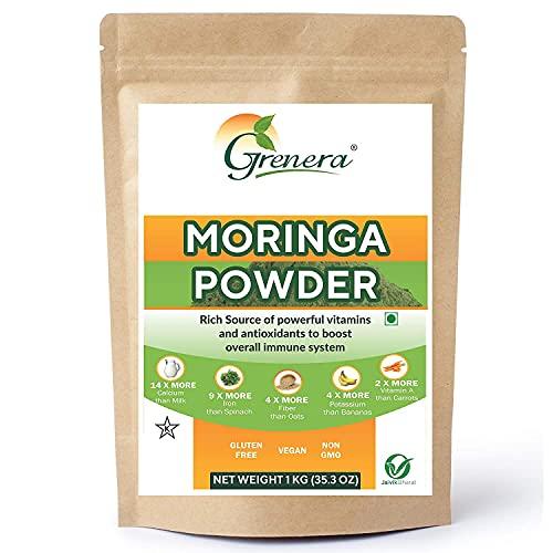 Grenera Moringa Leaf Powder - 1kg (1000 gram) - Kosher, Vegan Certified