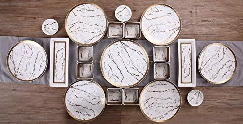 Zellerfeld 23-teiliges Frühstücksset Kahvalti Takimi Porzellan Frühstücksservice Tafelservice für 6 Personen, Teeglas Unterteller, Schale, Servierplatte