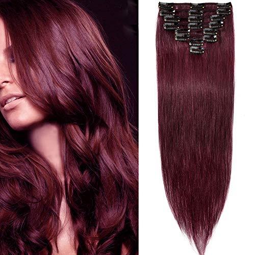 SEGO Extension Clip Capelli Veri Set da 8 Ciocche Extensions Rosse 100% Remy Human Hair Umani Naturali Lisci con 18 Clips 50cm 70g # Rosso Borgogna