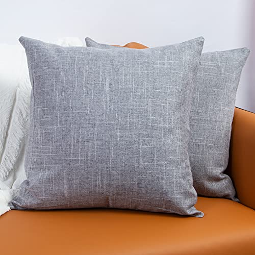 Ouddy Throw Pillow Covers Set of 2, Square Cotton Linen Pillowcases for Couch Sofa Home Decor 18x18 inches(Light Gray)