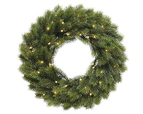 Weihnachtlicher & Hochwertiger LED Tannenkranz/Klassischer Türkranz Beleuchtet - Ø 40cm - Batteriebetrieben - Weihnachtskranz/Hängekranz/Tischkranz - Künstlicher Kranz Tanne - Weihnachten