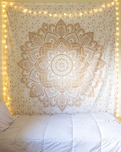 Aakriti Gallery Bohemian Hippie Ombre Hanging Pattern Indian Psychedelic Mandala Green 225 x 200 cm (Golden New Ombre)