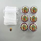 Our Lady of Guadalupe Rose Petal Scented Rosary - 6 Pcs Red Rosaries with Individual Matching Gift Box