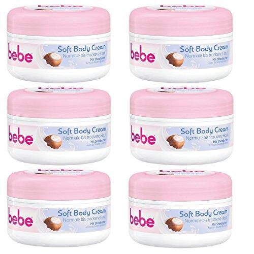 bebe Soft Body Cream - Langanhaltende Feuchtigkeitspflege mit Sheabutter für normale und trockene Haut - Zieht schnell ein - 6 x 200ml