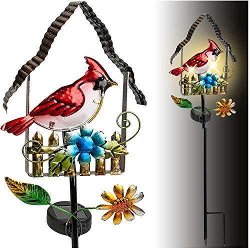 alles-meine.de GmbH Solar - LED Licht - Farbwechsel - Vogelhaus - mit Vogel & Blumen - 66 cm - Leuchte - Solarblume - Garten Wetterfest für Innen Außen - handbemaltes Glas & Meta..
