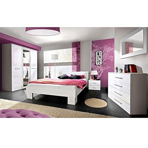 Paris Prix - Chambre Complète Adulte 6p Vicky 180x200cm Blanc