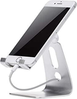 AmazonBasics Adjustable Cell Phone Desk Stand for iPhone and Android, Silver