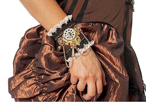 shoperama 2 Steampunk Manschetten mit Zahnrädern und Schlüsseln Schwarz/Braun Armschmuck Armband