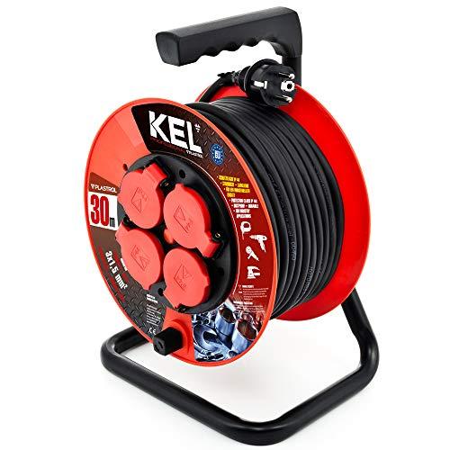 KEL-ELECTRIC - Tambor de cable con cable de goma de 30 m, 3 x 1,5 mm2, 230 V/16 A, cable alargador de plástico con 4 enchufes de protección IP44