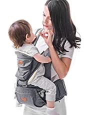 Babybärare höftsits och SUNVENO flyttbar bärsele för spädbarn med huva i höften, ergonomisk frambärare för spädbarn med dekompressionssvamp 3 i 1, 20 kg max