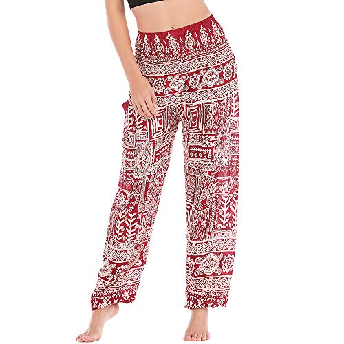 Nuofengkudu Women's Hippie Baggy Thai Cotton Patterned Yoga Pants with Pockets Elasticated...