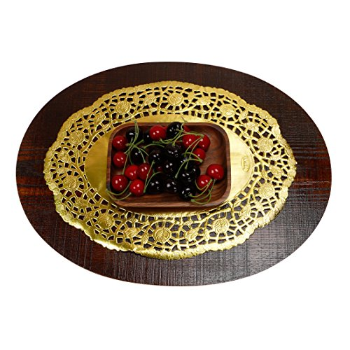 Geeklife Gold Lace Paper Doilies, Disposable Paper Doilies, Oval Placemats, 10.5 x 14 Inches, 60 Pcs