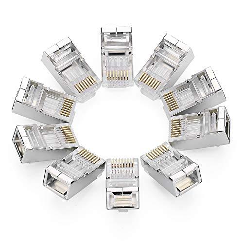 UGREEN 10 Pezzi Connettori RJ45 Cat 6, Plug RJ45 8P8C STP, Connettore Ethernet Schermato, Placcato in Oro 24K per Cat 6 / 5e / 5 Ethernet Network