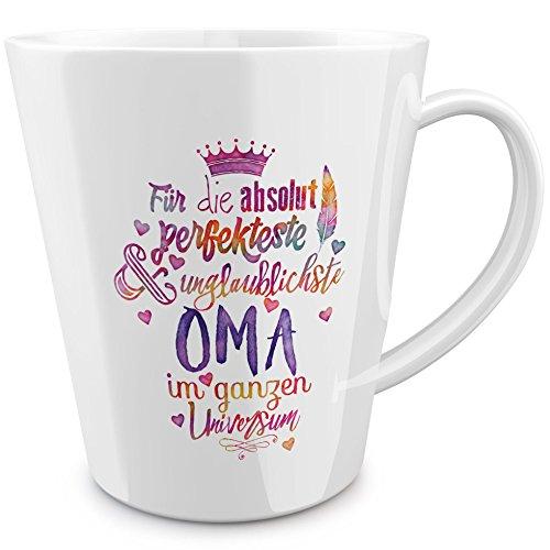FunTasstic Tasse Für die absolut perfekteste Oma - konische Kaffeepott 300 ml 100% handmade in Deutschland - zum Tee, Kaffee, als Geschenkidee mit Spruch, witzig, Küche Deko
