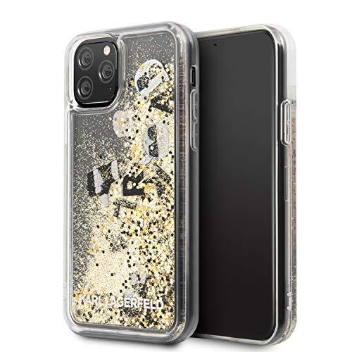 Karl Lagerfeld Glitter Floating Charms fodral KLHCN58ROGO för iPhone 11 Pro, svart och guld