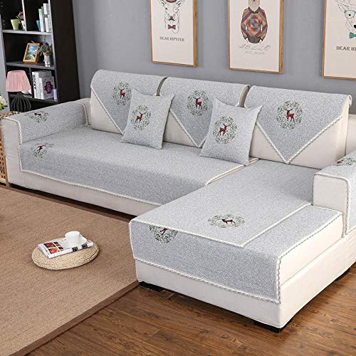 KENEL Easy-Going Sofa Slipcover, Sofa cover Sectional Sofa Slipcover, Four Seasons Universal Furniture Protective Cover (Only 1 Piece/Not All Set)-70 * 240CM_Grey_B
