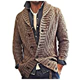 Men's Knitted Cardigan Autumn and Winter Solid Color Long-Sleeved Outwear Lapel Long Sweater CoatJacket (Brown, XXL)