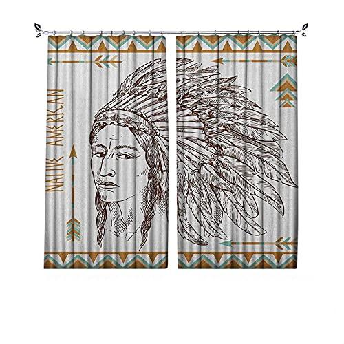 Cortinas plisadas con aislamiento térmico nativo americano, impresión de retrato de hombre tribal nativo tradicional, para travesaños y rieles, 200 x 200 cm, color blanco chocolate
