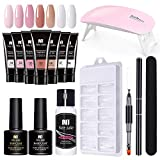 EEOO Poly Extension Gel Nail Set, Gel Nail Polish Starter Kit with UV Light, 7 Colors Nail Enhancement Trial Kit Professional Nail Technician All-in-One French Kit
