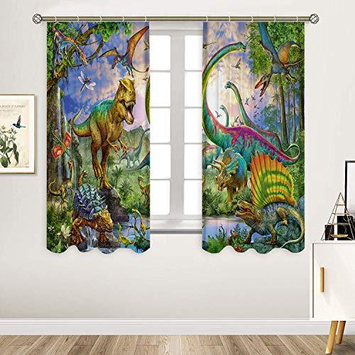 Sevendec Dinosaurier-Vorhang mit antiken Tieren, Jurassic-Vorhang für Kinder, Wohnzimmer, Küche, Schlafzimmer, Dekoration, 2 Paneele (B x H) 29,5 x 65 cm