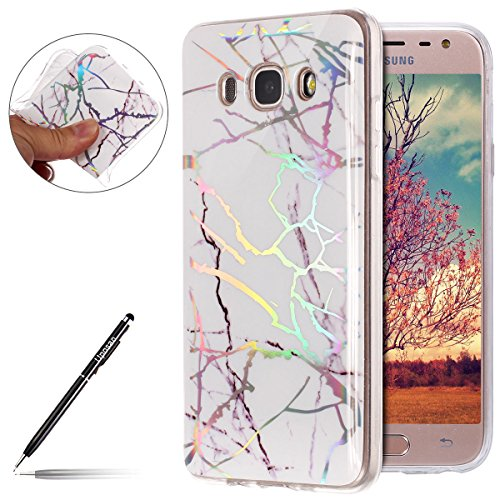 Uposao Funda para Samsung Galaxy J5 2016 Mármol Funda Suave TPU Gel Cascara Glitter Brillante Brillo Purpurina Case Ultra Hybrid Transparente Dibujo Mármol Lindo Funda Cacasa Samsung Galaxy J5 2016