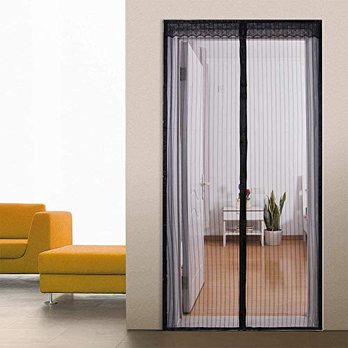 Loboo Idea Magnetic Screen Door, Screen Doors with Magnets Heavy Duty Mesh Curtain, for Front Door Apartments and More, Hands Free (36x96 Inches, Black)