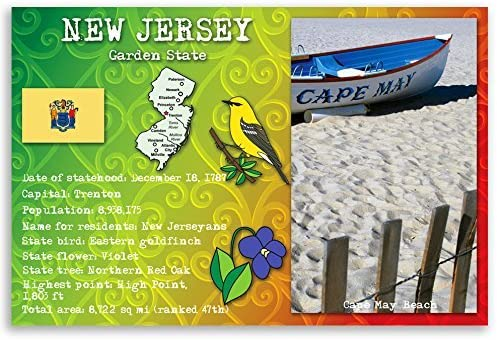 Limited time for free shipping NEW JERSEY STATE FACTS postcard set identical P Super sale period limited postcards. of 20