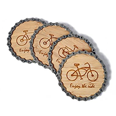 Bike Chain and Bamboo Coasters by Resource Revival | Eco-friendly Rustic Modern Coaster Created for the Adventurer - Set of 4