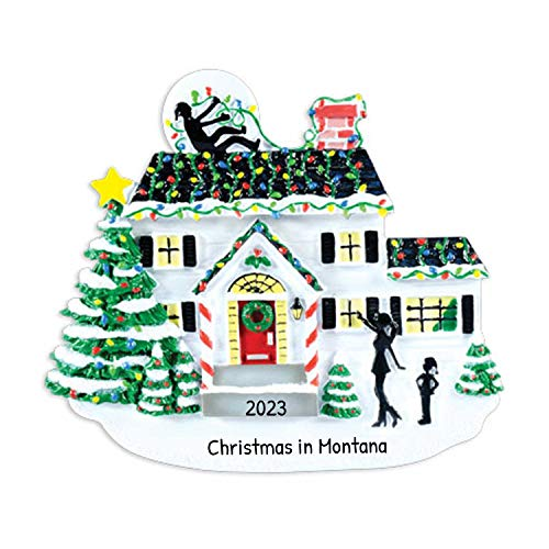 Ornaments by Elves Personalized House with Lights Christmas Ornament for Tree 2018 - Snowy White Family Home Man Shock Tangled - Festive Fun Neighbor Elegant Door New Gift - Free Customization
