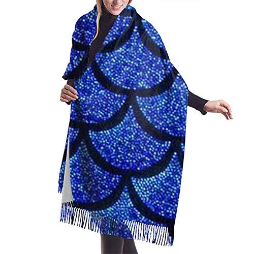 Nifdhkw Bufanda de invierno con escamas de sirena azul marino, chales de Pashmina, abrigos para mujer, vestido de noche, boda de dama de honor