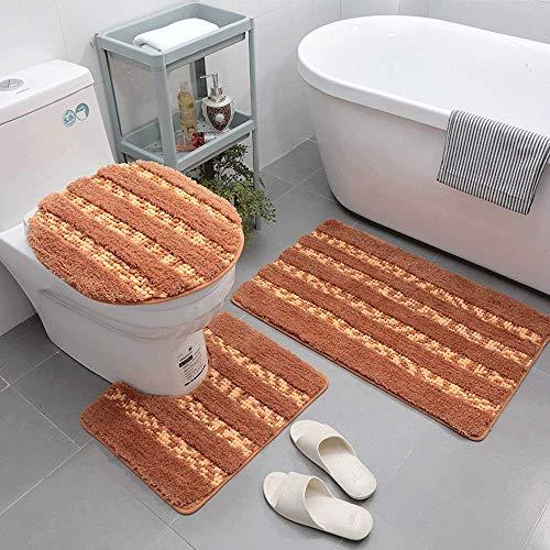 LAOSHIZI Alfombrillas de baño Suave Antideslizante Moda Enrejado Juego de alfombras de baño de 3 Piezas Naranja
