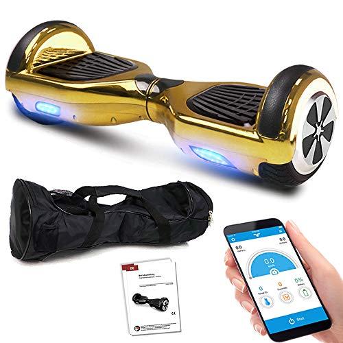 Balance Scooter 6,5 Zoll 600W-Motion V.5 mit App Funktion, Bluetooth Lautsprecher, Kinder Sicherheitsmodus, Elektro Self Balance E-Scooter, 600 Watt (GoldChrome)