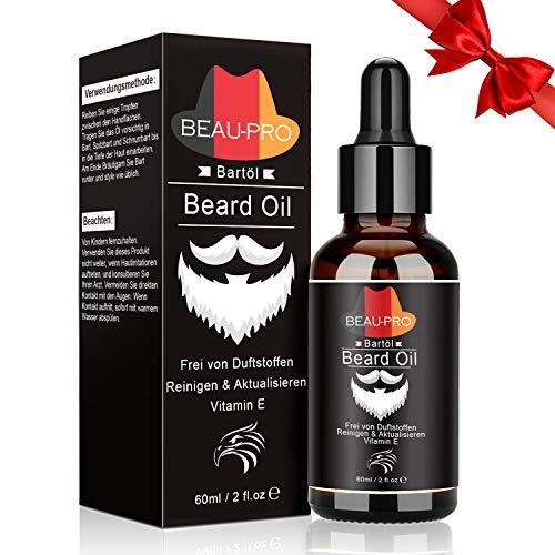 Olio da Barba per Uomo - Olio Cura Barba Professionale - Beard Oil Rinfrescante e Ammorbidente - Barba Olio 100% Naturale Olio per favorire la crescita di Barba e Capelli(60ml)
