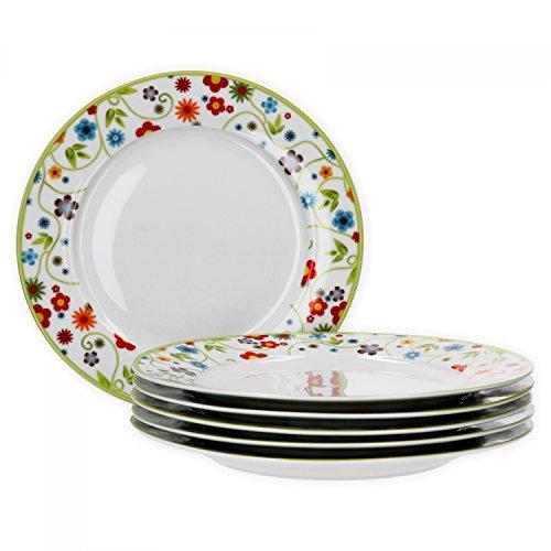 Van Well 6er Set Speiseteller Essteller flach Serie Vario Porzellan - Farbe wählbar, Farbe:Flowers