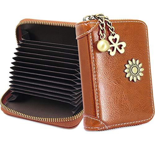 Tarjetero para Tarjetas de Crédito Mujer RFID Billetera para Tarjetas de Crédito Cuero con 12 Ranuras para Tarjetas y 2 Ranura de Efectivo Carteras de Mujer Monederos con Cremallera (marrón)