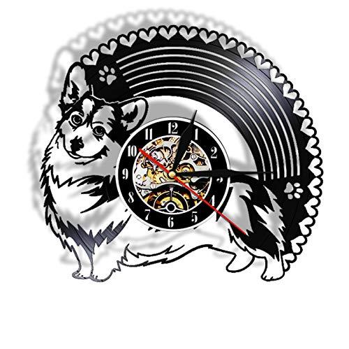 LIMN Reloj de pared 3D vinilo LP Record Puppy Dog Breed negro colgante reloj luz lámpara brilla en la oscuridad