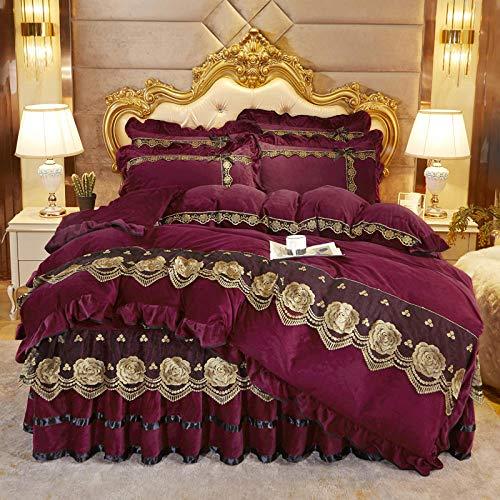 Juego de cuatro piezas de forro polar de coral estilo falda de cama, colcha de edredón de doble cara más forro polar, adecuada para cama doble king-purple_Bed_skirt: _180cm * 200cm (4 piezas)