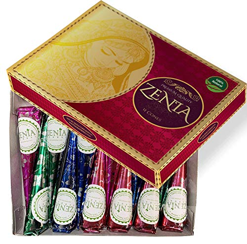 Zenia 12 Pack 100% Natural Ready to Use Henna Paste Hair Color Hair Dye Cones Reddish Brown Color
