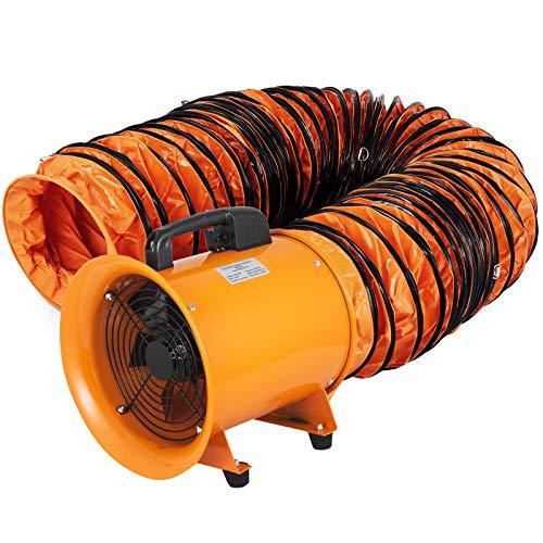 VEVOR Ventilador Industrial 250 mm, Extractor Aire Industrial de PVC Conducto de 10 m Ventilador de Admisión Extractor de Aire 220 V, Ventilador Portátil 320W Tubo Extractor Entrega de Aire 2580 m³/h